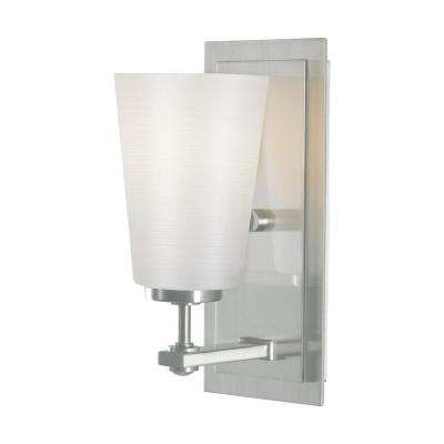 Sunset Drive 4.5 in. 1-Light Brushed Steel Vanity Light with White Opal Etched Glass Shades