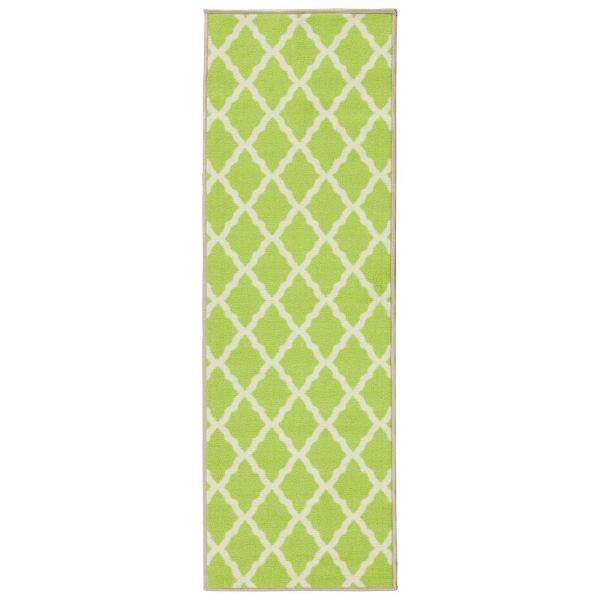 Glamour Collection Contemporary Moroccan Trellis Design Green 2 ft. x 5 ft. Kids Runner Rug