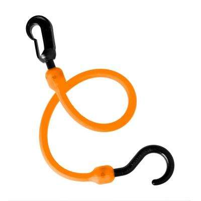 18 in. Polyurethane Fixed End Bungee Cord with Molded Nylon Hook and Clip in Orange