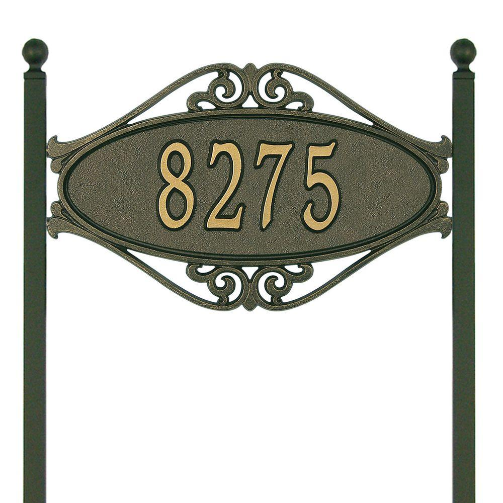 Hackley Fretwork Oval Bronze/Gold Standard Lawn One Line Address Plaque