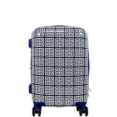 Geo Print 21 in. Blue Hard Sided Rolling Suitcase