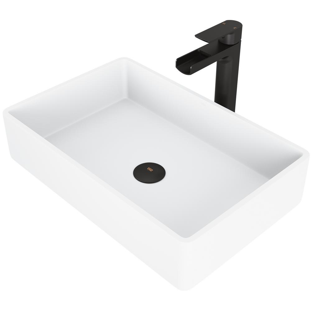 Vigo Matte Stone Magnolia Composite Rectangular Vessel Bathroom Sink In White With Faucet And Pop Up Drain In Matte Black Vgt944 The Home Depot