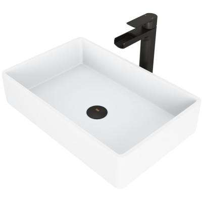 Magnolia White Matte Stone Vessel Bathroom Sink Set with Amada Faucet in Matte Black