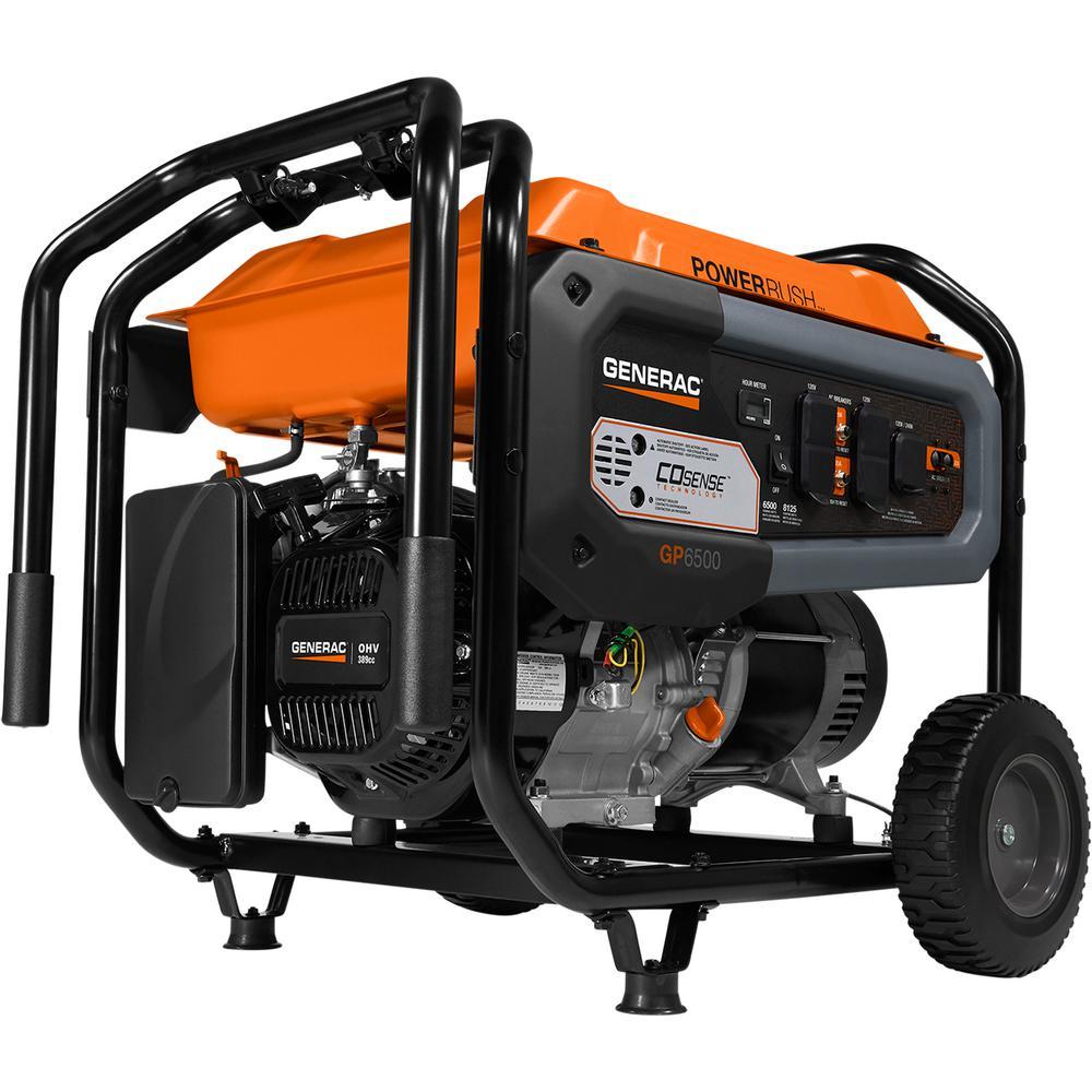 Generac GP6500- 6500-Watt Gasoline Powered Portable Generator with CO-Sense  50/CSA