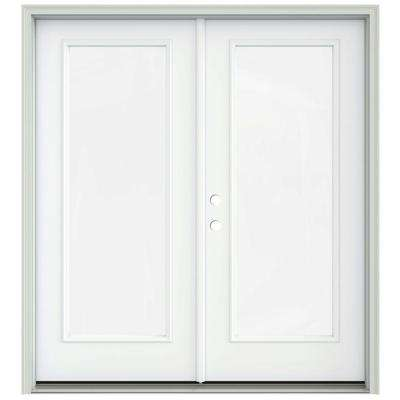 72 in. x 80 in. White Painted Steel Right-Hand Inswing Full Lite Glass Stationary/Active Patio Door