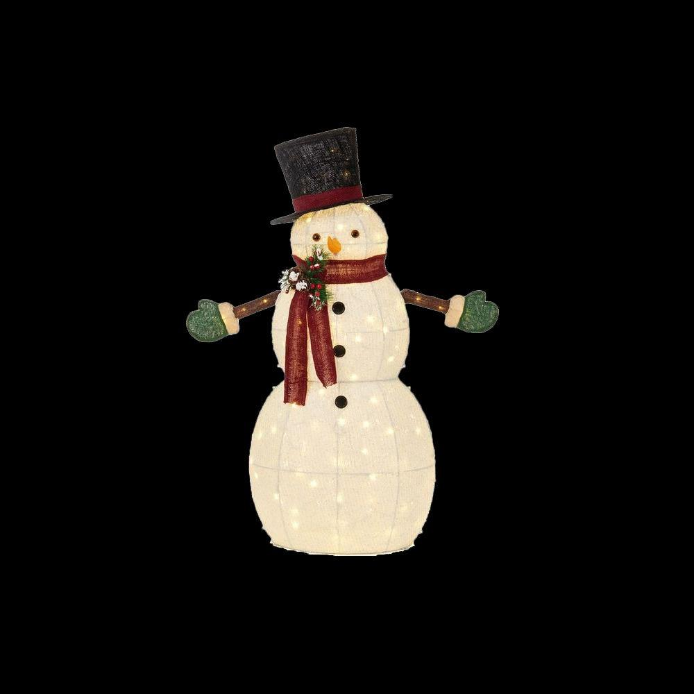 Home accents holiday 49 5 in led lighted cotton snowman for Christmas snowman decorations