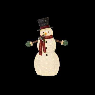 49.5 in. LED Lighted Cotton Snowman with Tophat