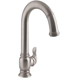 beckon electronic pulldown sprayer kitchen faucet in vibrant stainless - Kohler Kitchen Faucets