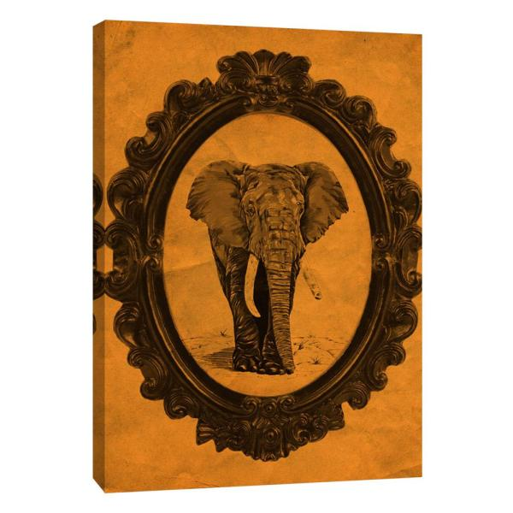 PTM Images 12 in. x 10 in. ''Framed Elephant in Tangerine''