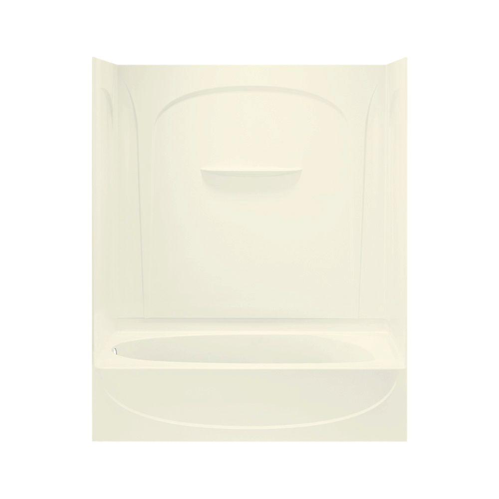STERLING Acclaim 30 in. x 60 in. x 74-1/4 in. Four Piece Directo-Stud Curve Bath and Shower in Biscuit