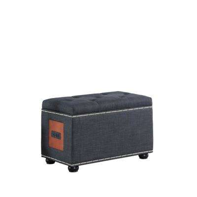 19 in. Dark gray Melo Tufted Nailhead Trim Storage Ottoman Bench with Charging Station