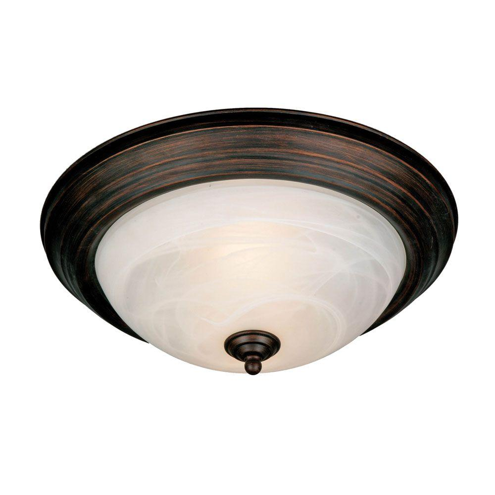 null Maddox Collection 2-Light Rubbed Bronze Flushmount
