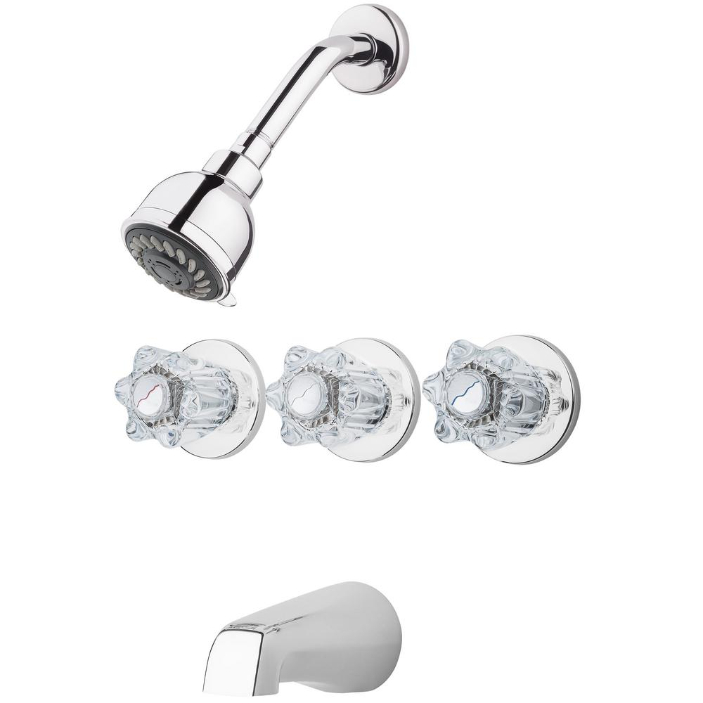 Pfister 3 Handle 1 Spray Tub And Shower Faucet With Acrylic Knob