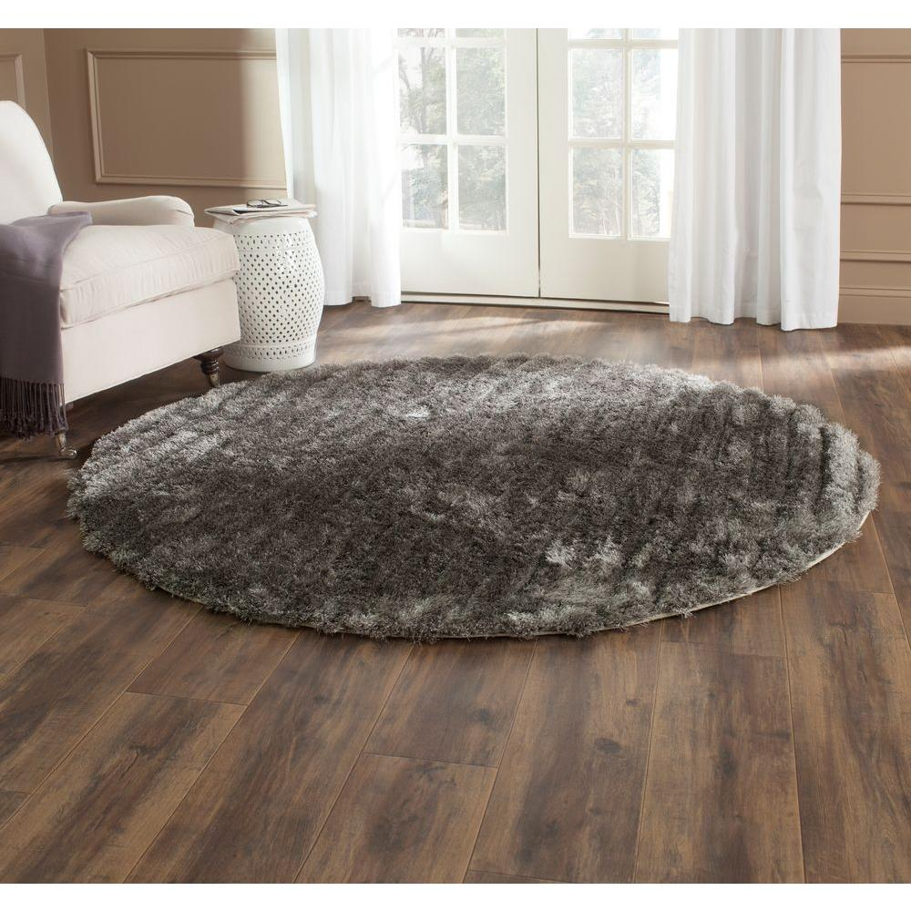 3D Shag Silver 6 ft. Round Area Rug