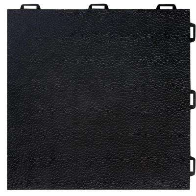 StayLock Orange Peel Top Black 12 in. x 12 in. x 0.56 in. PVC Plastic Interlocking Basement Floor Tile (Case of 26)