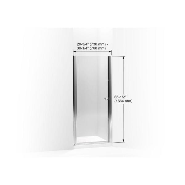 Kohler Revel 36 In W X 70 In H Frameless Pivot Shower Door In Bright Polished Silver With Handle 707510 L Shp The Home Depot