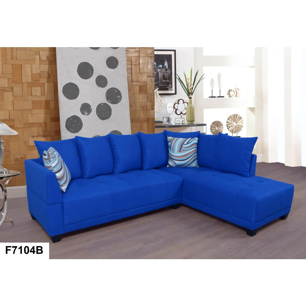 Blue Tufted Linen Left Sectional Sofa Set (2-Piece) SH7104B - The ...
