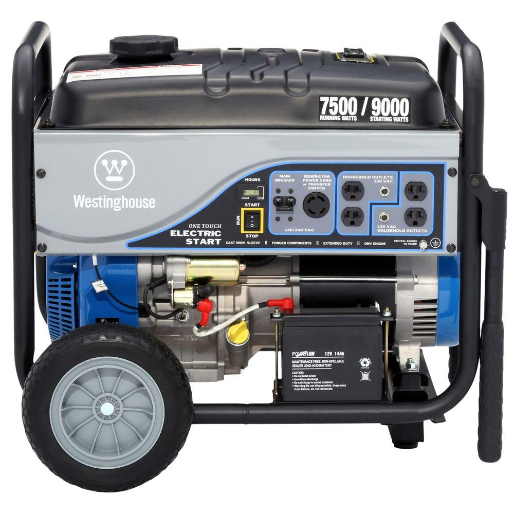 Westinghouse 7,500-Watt Gasoline Powered Electric Start Portable Generator with Battery