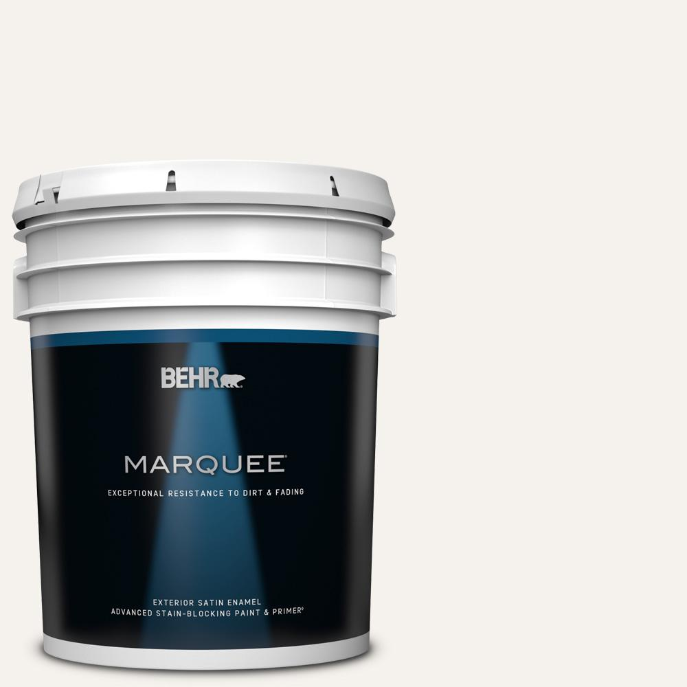 Behr Marquee 5 Gal Pr W14 Bit Of Sugar Satin Enamel Exterior Paint And Primer In One 945005 The Home Depot