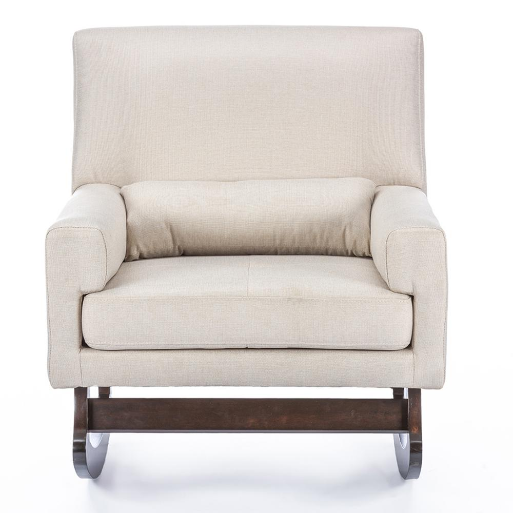 Blas Light Beige Fabric Rocking Arm Chair