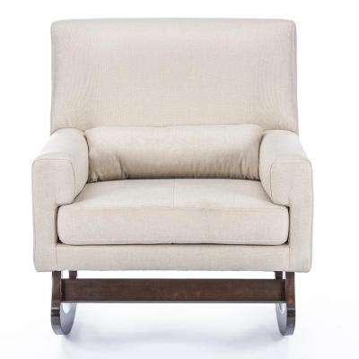 Blas Light Beige Fabric Rocking Arm Chair