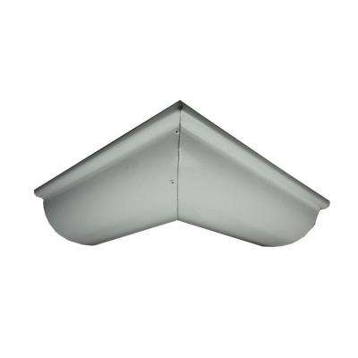 6 in. Half Round High Glass White Aluminum Outside Miter