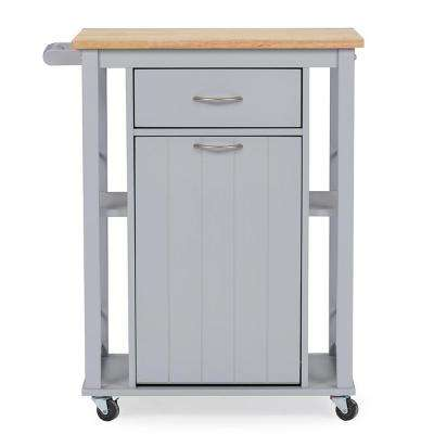 Yonkers Gray Kitchen Cart with Wood Top