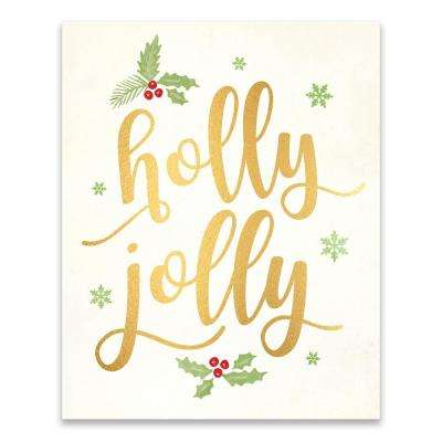 """Holly Jolly"" by Lot26 Studio Foil Embellished Canvas Wall Art"