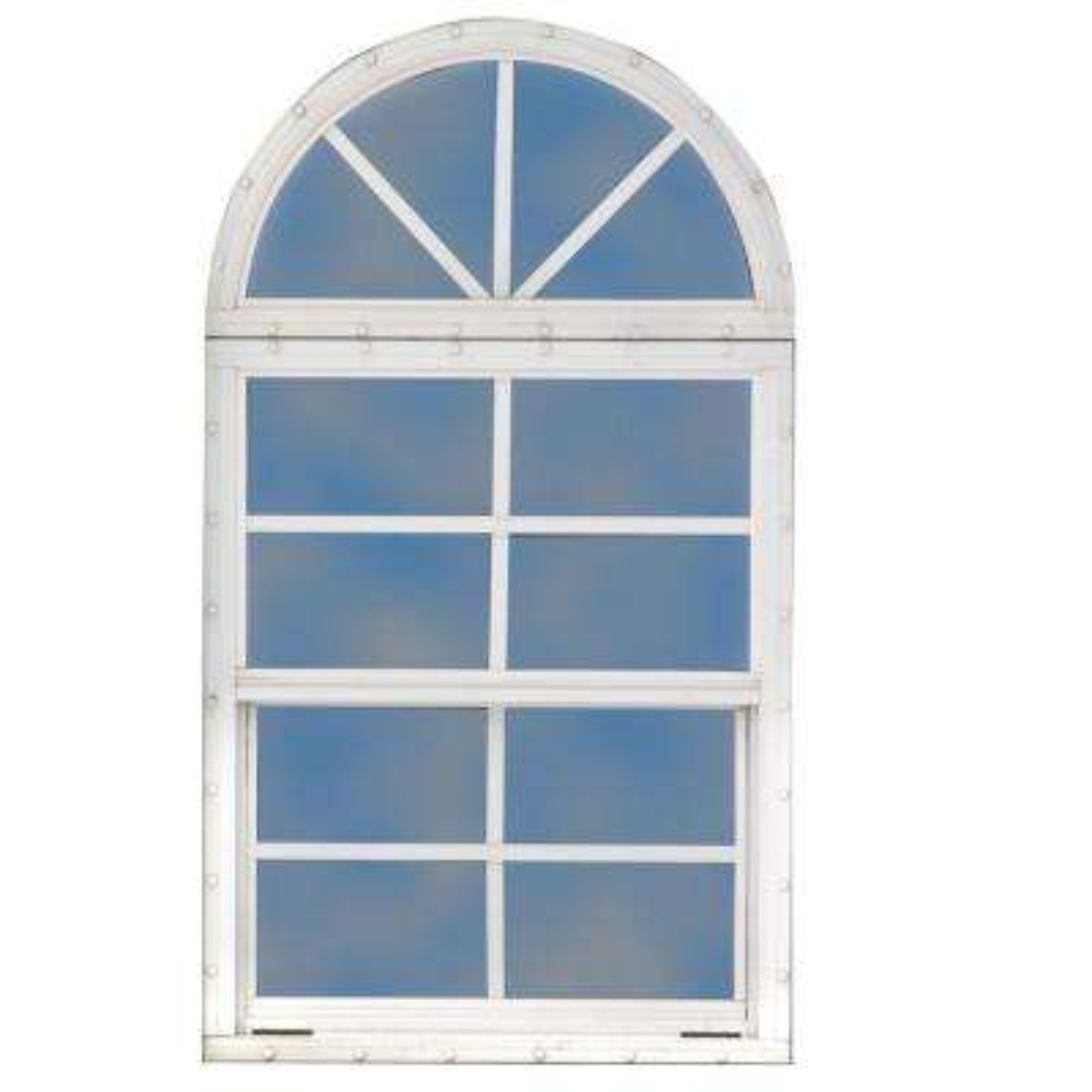 18 in. x 24 in. Single Hung Aluminum Window with Sunburst