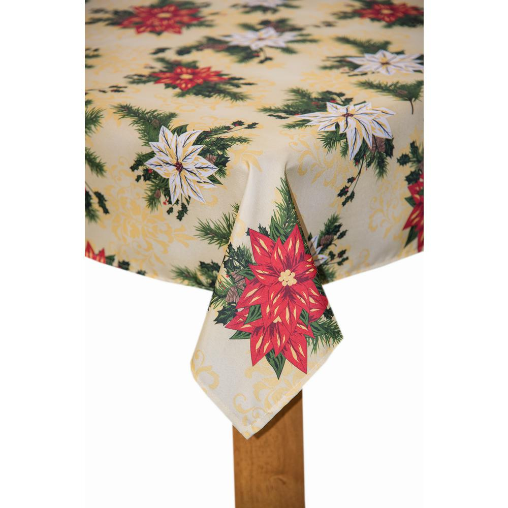 Gentil Lintex Christmas Poinsettia 60 In. X 102 In. Multi 100% Polyester Tablecloth