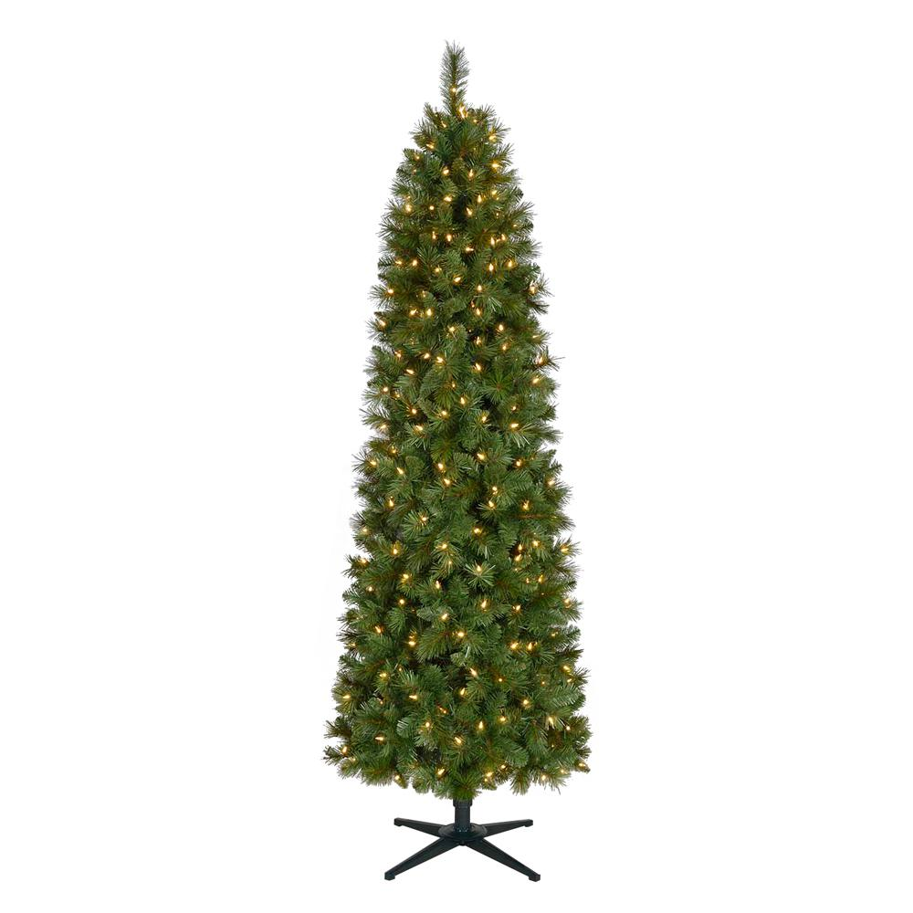 Home Accents Holiday 7 ft. Pre-Lit LED Wesley Spruce Artificial ...