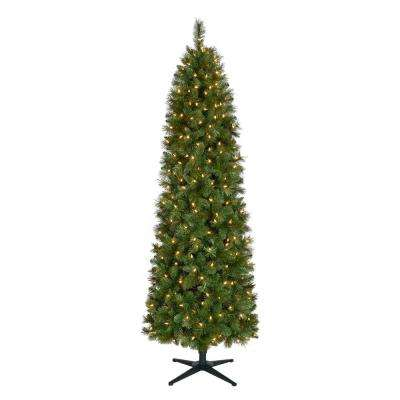7 ft. Pre-Lit LED Wesley Pencil Spruce Artificial Christmas Tree with 300 Warm White Lights