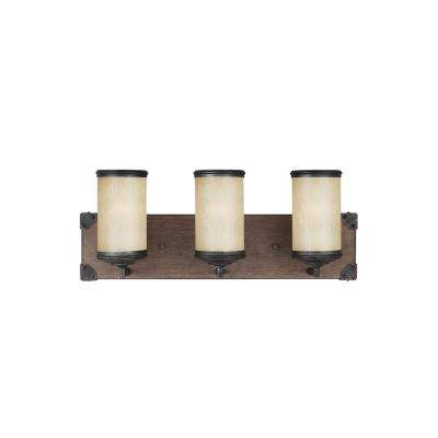 Dunning 21 in. W. 3-Light Weathered Gray and Distressed Oak Vanity Light with LED Bulbs