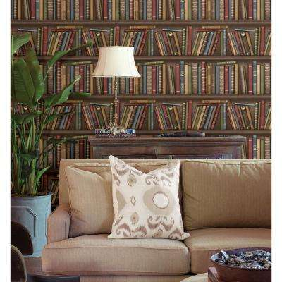 56.4 sq. ft. Atheneum Burgundy Antique Books Wallpaper