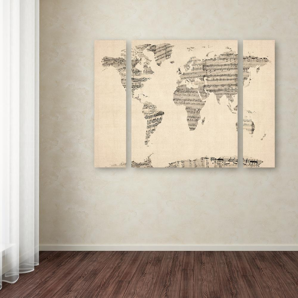 Trademark fine art 30 in x 41 in old sheet music world map by old sheet music world map gumiabroncs Choice Image