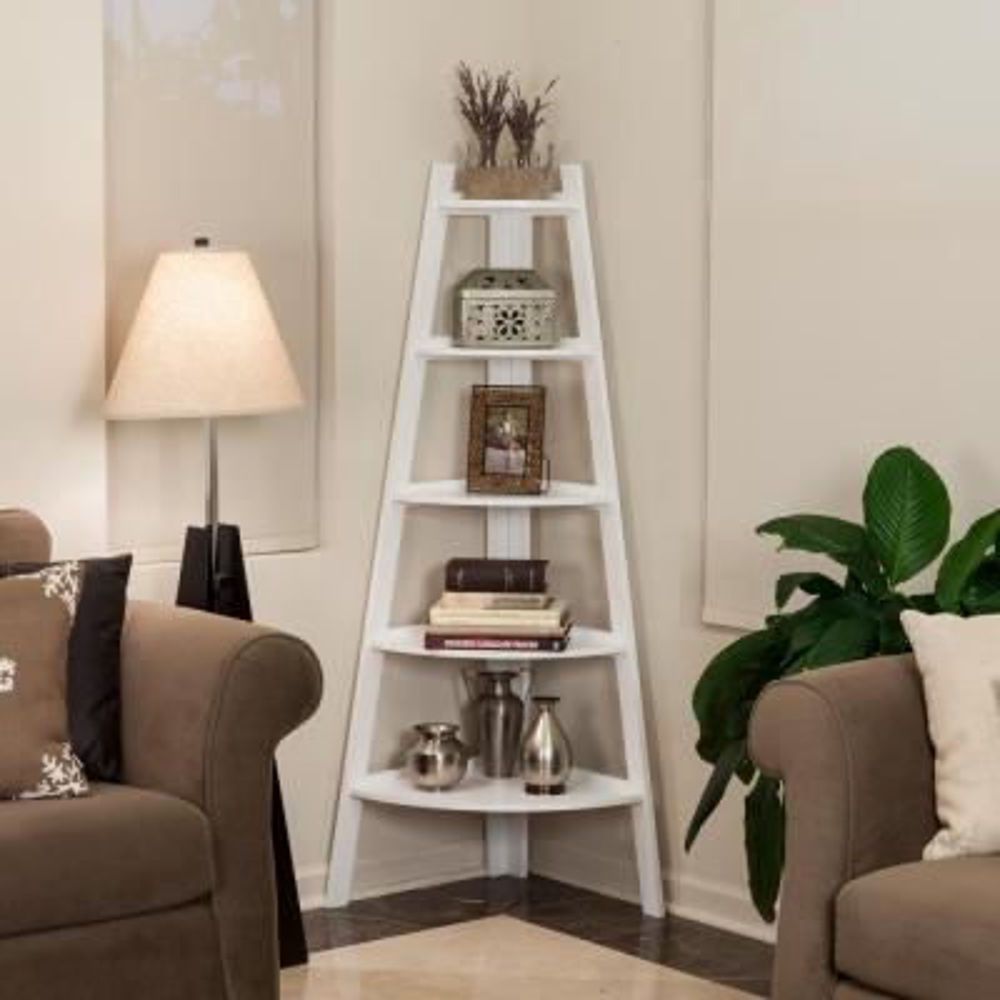 63 in. White Finish 5-Tier Corner Ladder Display Bookshelf