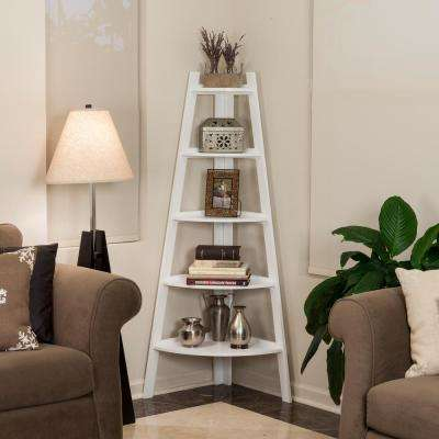 White Finish 5 Tier Corner Ladder Display Bookshelf