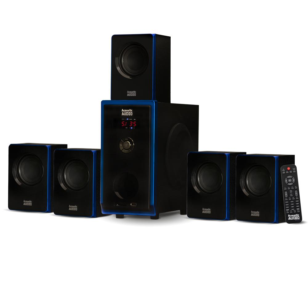 Bluetooth 5.1 Multimedia 6 Speaker Surround Sound Home Theater Speaker System This Acoustic Audio Bluetooth 5.1 System features a contemporary design and is a stylish addition to any home. This 800-Watt, 6-piece system includes one powered subwoofer and five satellite speakers as well as cables and instructions needed to  Plug and Play  any audio source with a RCA audio output or use the front panel USB interface or SD/MMC card input. Use it for your home theater system, personal computer or laptop, gaming system, cell phone, MP3 player or any other audio devices with 3.5 mm. headphone output. The powered subwoofer features independent speaker controls as well as bass, treble and volume functions. It utilizes a digitally tuned wooden enclosure for increased bass response. The full-range satellite speakers feature magnetic shielding for use near televisions and computer monitors as well as included mounting hardware.