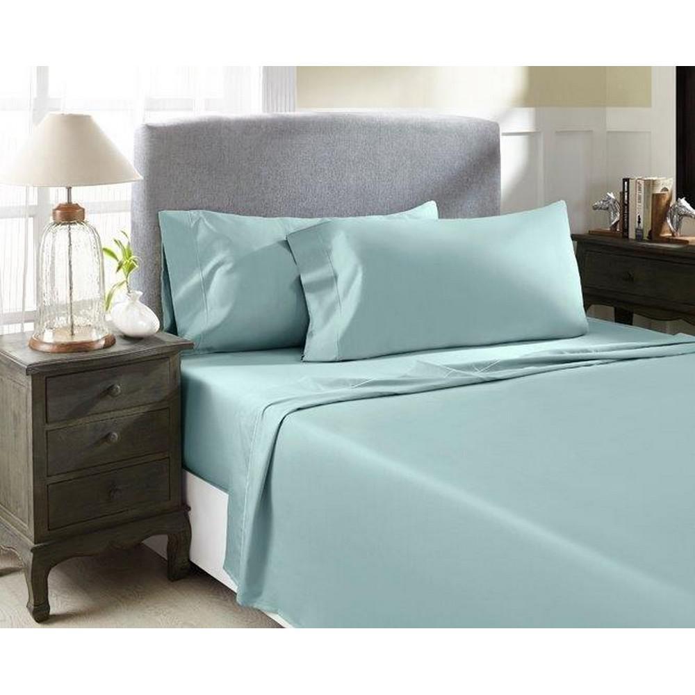 Perthshire Platinum 4-Piece Ocean Blue Solid 1500 Thread Count Cotton Queen Sheet Set