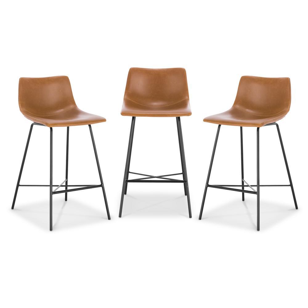 Astonishing Poly And Bark Paxton 24 In Tan Counter Stool Set Of 3 Hd Inzonedesignstudio Interior Chair Design Inzonedesignstudiocom
