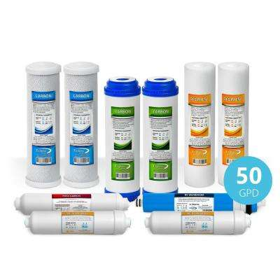 1 Year Deionization Reverse Osmosis System Replacement Filter Set - 10 Filters with 50 GPD RO Membrane - 10 in. Filters