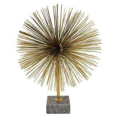13.5 in. Gold Metal Urchin with Marble Base