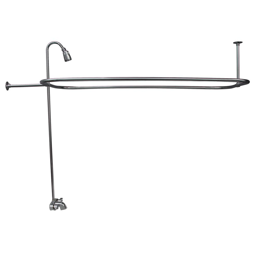 Pegasus 2-Handle Claw Foot Tub Faucet with Riser 54 in. Rectangular Shower Ring and Showerhead in Polished Chrome