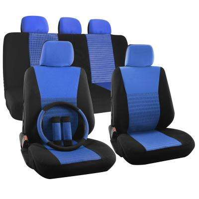 Polyester Seat Covers Set 26 in. L x 21 in. W x 48 in. H 17-Piece Seat Cover Set Wide Stripe Black and Blue
