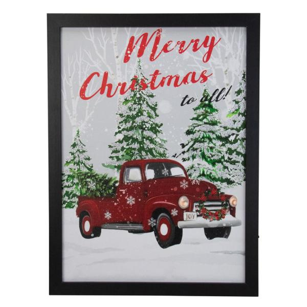 Northlight 15 75 In Black Frame Red Vintage Truck Led Wooden Christmas Box 33677297 The Home Depot