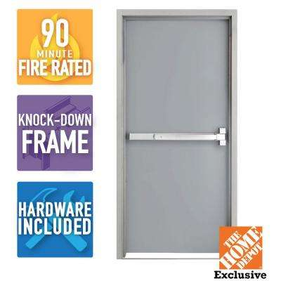 36 in. x 84 in. Fire-Rated Gray Right-Hand Flush Steel Commercial Door Slab with Panic Bar and Knock Down Frame