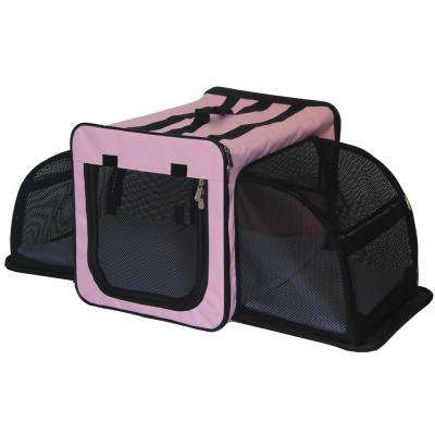 Medium Pink Capacious Dual Expandable Wire Folding Lightweight Collapsible Travel Pet Dog Crate