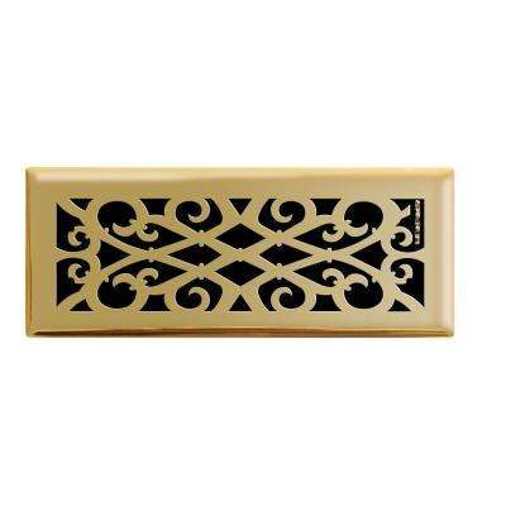 4 in. x 12 in. Elegant Scroll Floor Register in Polished Brass