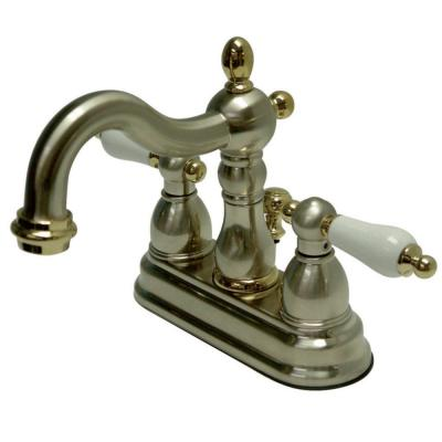Heritage 4 in. Centerset 2-Handle Bathroom Faucet in Brushed Nickel and Polished Brass