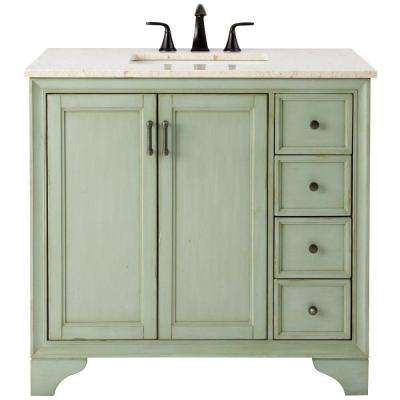 Hazelton 37 in. W x 22 in. D Bath Vanity in Antique Green with Marble Vanity Top in Beige